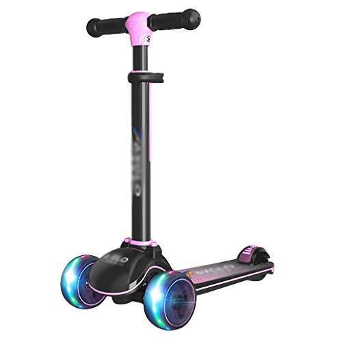 Niños Pequeños Scooter 3-12 Años 4 Manillar Ajustable con Ruedas Flash Boys Extra-Wide Girls Gifts ( Color : Pink )