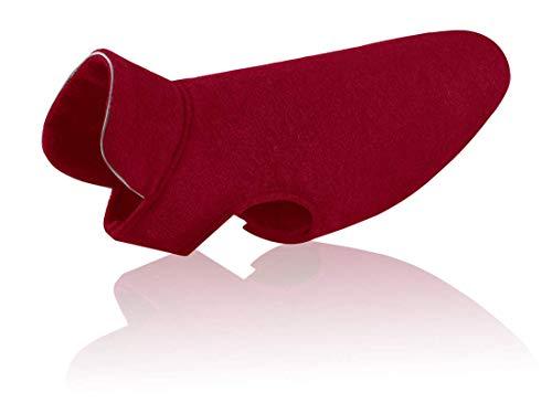 Tineer Reflektierende Hund Jacke Puppy Weiche Fleece Mäntel Herbst Winter Warm Reflektierende Mode Haustier Kleidung für Große Hunde (S, Wine Red)