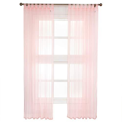 WOLTU VH5902rs-2, Gardinen transparent mit Schlaufen 2er Set, Stores Vorhang Schal Voile Tüll Wohnzimmer Schlafzimmer Landhaus, Rosa 140x225 cm