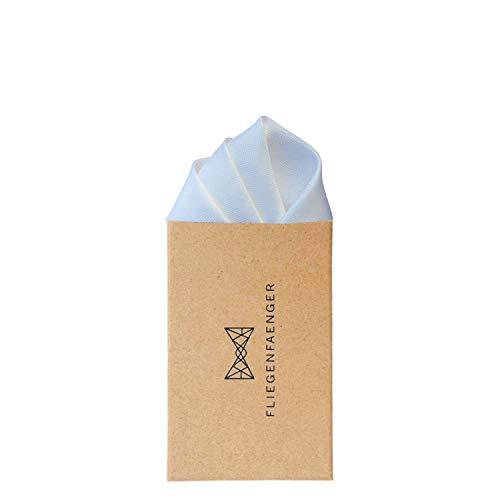 FLIEGENFAENGER Einstecktuch Weiss aus Seide I Kombinierbar mit Krawatte, Fliege, Schleife & Hosenträger - passend zu jedem Anzug I Handgenähte Standard Größe 30x30cm - Weißes Einstecktuch für Herren