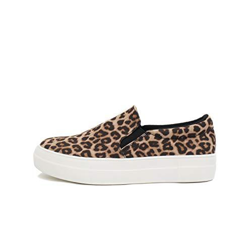 Soda Hike ~ Slip On Double Layer Foam Padded Cushion Sock Fashion Sneakers (8.5, Oatmeal Cheetah)
