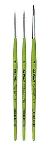 Da Vinci Serie 373 pinceles redondos para acuarelas, fibra sintética, verde, set 3pcs ,0, 2, 4, pasatiempo