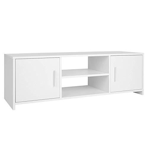 Homfa Mueble TV Salón Mesa para TV con 2 Puertas 1 Estante Blanco 110x35x36cm