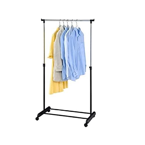Acan Perchero de Acero Color Negro Metalizado con Ruedas fácil de Montar 78 x 42 x 89-160 cm