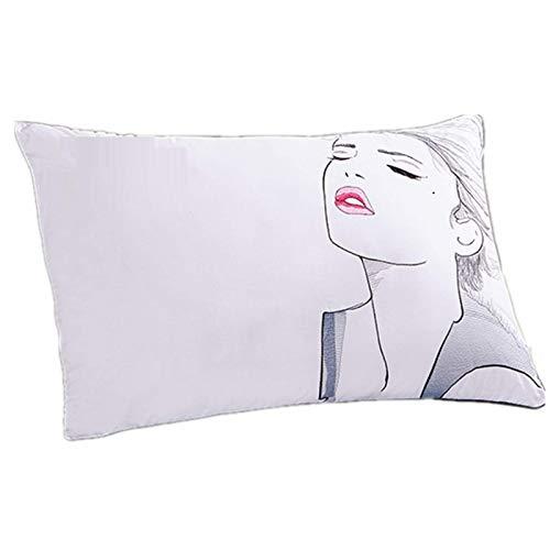 qianbanger Pillow Core Hotel Puro algodón Pluma Terciopelo Almohada Acolchado Tridimensional de Alta Gama Lavable Individual Doble núcleo de Almohada de algodón 48x74cm un Paquete