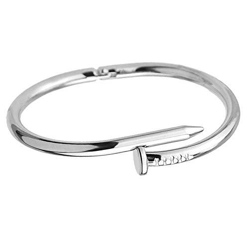 HANYF Einfache Titan Stahl Edelstahl Nägel Armband Silber Gold Armbänder Armreifen Punk für Frauen Männer Schmuck,Silber