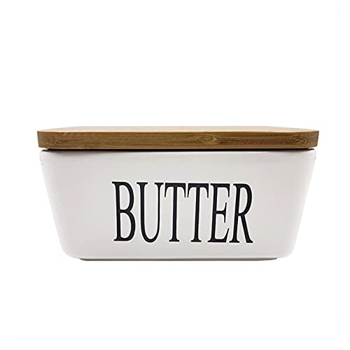 JINGGL Butter Dish Large Capacity Butter Sealing Box,Ceramic,White,with Wood Lid,Cheese Server Tray, Butter Dish