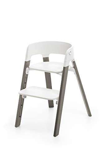 STOKKE® Steps™ Stuhl - mitwachsender Hochstuhl für Babys und Kleinkinder - Sitz: Weiß - Holz: Buche - Farbe: Hazy Grey