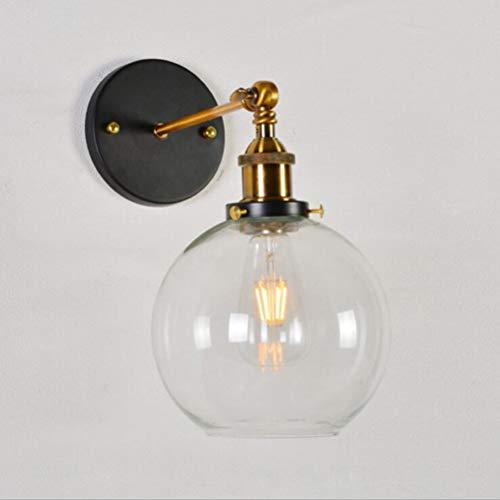 OSALADI Applique da parete industriale, 220V E27 15CM Lampada da parete rotonda in vetro, Illuminazione a parete per soggiorno Camera da letto