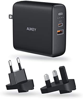 AUKEY 3in1 Combo 5000mAh Portable Charger Wall Charger Travel Plugs EU UK USB A USB C Dual Port product image