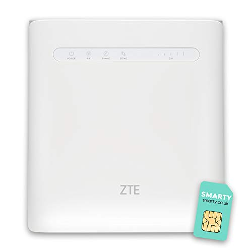 ZTE MF286R, LTE CAT6/4G Wireless Router, Supports VOIP and Wi-Fi up to 1.3Gbps, Connects up to 64 Devices, 2x External Antennas, Unlocked + UK Plug, with FREE SMARTY SIM Card- White