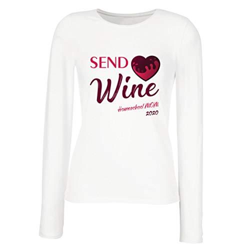 lepni.me Camisetas de Manga Larga para Mujer Envía la Cuarentena del Vino a la Escuela Hogareña Mamá 2020 (Medium Blanco Multicolor)