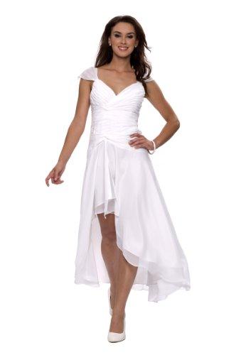 Astrapahl Damen Cocktail Kleid mit schönen Raffungen, Knielang, Einfarbig, Gr. 40, Weiß