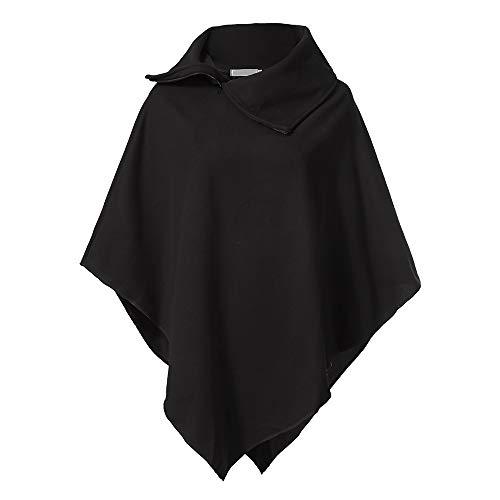 IZHH Damen Mantel Frauen Winter Reißverschluss Revers Lose Einfarbig Unregelmäßigen Haarigen Hemd Mantel Mantel Outdoor Party Leistung Bühne Tragen(Schwarz,Medium)