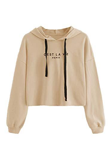 SweatyRocks Women's Letter Print Casual Long Sleeve Crop Top Sweatshirt Hoodies Apricot XS