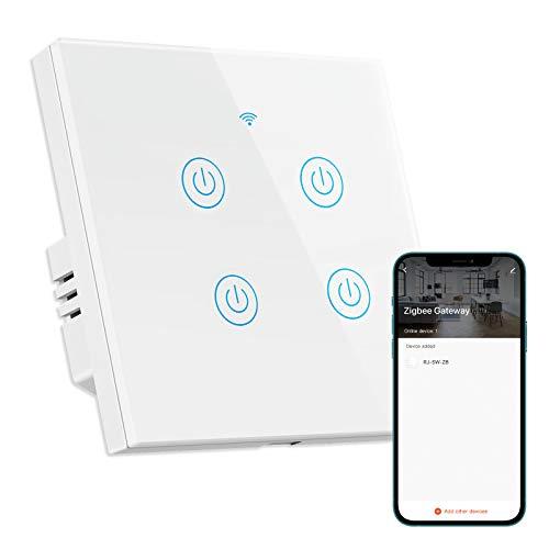 TEEKAR ZigBee 3.0 Lichtschalter, Voice APP Control Smart Alexa Wandschalter Kompatibel mit Alexa und Google Home, Smart Touchscreen Lichtschalter mit Timing Function-ZigBee Gateway Required