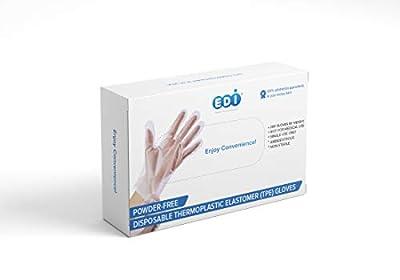 EDI Stretchable Plastic TPE Food Service Gloves (Medium, 200 pcs) (Clear) – Powder-Free, Latex-Free