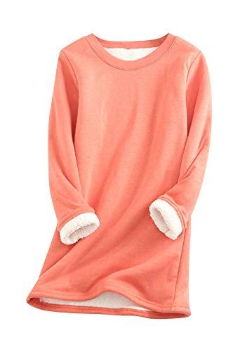 EFOFEI Damen Lässiger Warmer Pullover Langarm Shirts Oversize Langarm Plus Fleecepullover Wassermelonenrot XL