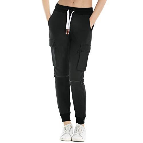 Extreme Pop Damen Jogginghose aus Reiner Baumwolle Slim Fit Jogger French Terry Knit Cargo Pants Farben Schwarz Grau Blau (M, Black)