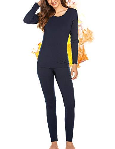 INZOE Thermounterwäsche für Damen Skiunterwäsche Warm Unterwäsche Set Thermo Pyjamas Oberteil Lange Zweiteiliger Nachtwäsche für Frauen Blau M
