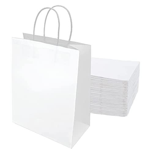 Gaoyong 15 Stück Papiertüten 32*26*12CM,Papiertüten Weiß,Papiertüten mit Henkel,Geschenktüten,Kraftpapier tüten (verdicken 130gsm)