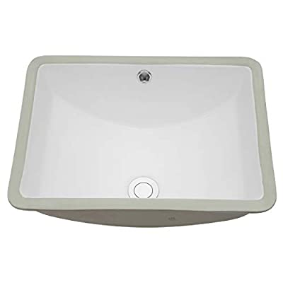 "Vessel Sink Undermount - Kichae 18""x14"" Vessel Sink Modern White Rectangle Undermount Sink Porcelain Ceramic Lavatory Vanity Bathroom Sink with Overflow"