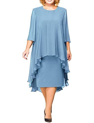 MisShow Damen uebergroeßen Mutter Hochzeitskleid Abendkleider Chiffon Ballkleid Partykleid Hochzeit Brautmutterkleid Midilang Blau 46