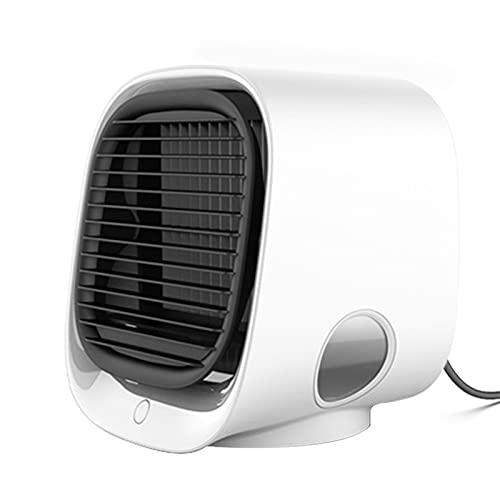 DJH Aire Acondicionado portátil Ventilador Enfriador de Aire Humidificación y enfriamiento Luz Nocturna Enfriador de Aire de Escritorio USB Multifuncional,Blanco