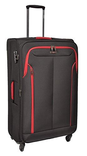 Large Size Check-in Luggage 4 Wheel Soft Suitcase Lightweight TSA Lock Expandable Bag AA716 Black
