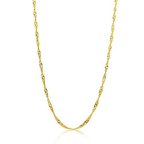 Orovi Damen Halskette 14 Karat (585) GelbGold Singapurkette Goldkette 1,2 mm breit 45cm lange