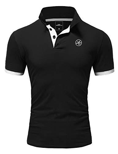 Amaci&Sons Herren Poloshirt Basic Kontrast Stickerei Kurzarm Polohemd T-Shirt 5103 Schwarz/Weiß L