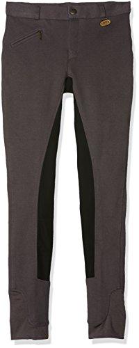 HKM Erwachsene Reithose-Basic Belmtex Grip Easy-3/4 Besatz Hose, Grau/Schwarz, 46