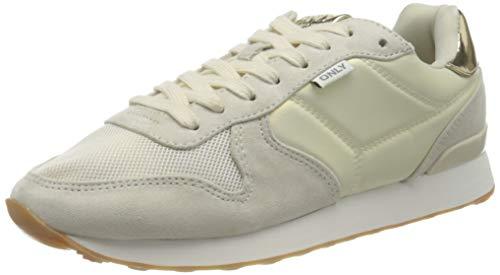 ONLY ONLSAHEL-4 Metallic Sneaker, Zapatillas Mujer, Beige, 38 EU