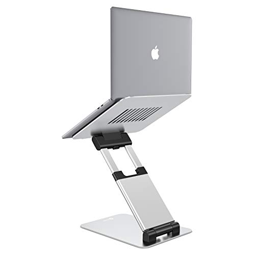 Tounee Laptop Stand New Upgraded, Ergonomic Sit to Stand Laptop Elevator with Adjustable Height from 2.1' to 13.8', Keep Laptop at Eye Level, Compatible with MacBook, All Laptops 10-17' - Silver