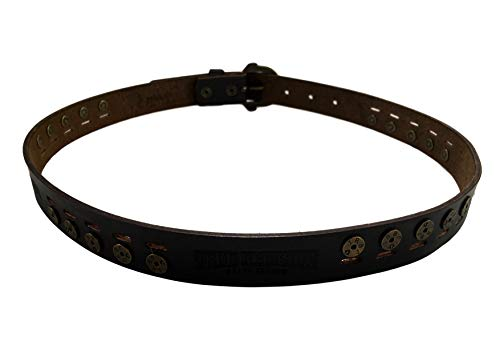 Womens Brown Studded Leather Belt With Horseshoe Buckle 3