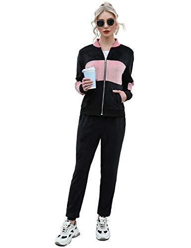 Akalnny Damen Hausanzug Samt Velour Traingingsanzug Jogginganzug mit Taschen Relax Flauschig Zweiteiler Set Hoodie + Sporthose Schwarz XL