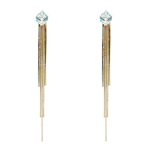 Navachi 18k Gold Plated Colorful Zircon Chain Rickety Stud Earrings white