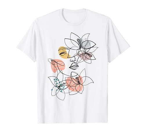 Line Art Visage Femme Abstrait Minimaliste Esthétique T-Shirt