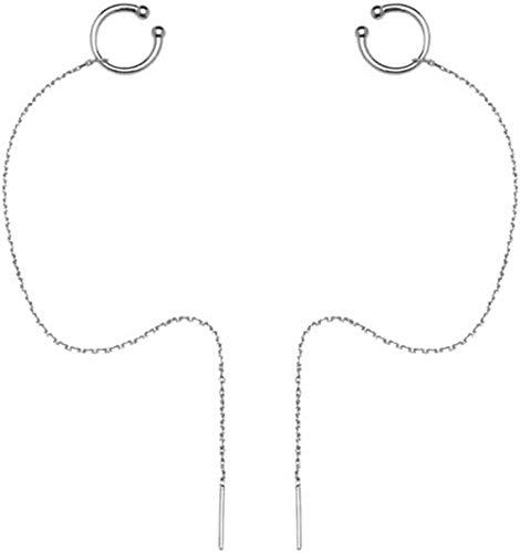 Cadena de brazalete de plata de ley 925, aretes envueltos alrededor de aretes con borlas, un par de cordones para los oídos-Color 1-plata