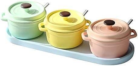 SPNEC Kitchen Landscape Line Macaron Ceramic Seasoning Jar Set Storage Jar Bowl Stew Pot Seasoning Box Salt Shaker with Li...