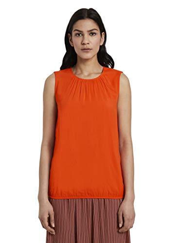 TOM TAILOR Rundhals T-Shirt, 22370/Strong Flame Orange, 40 Donna