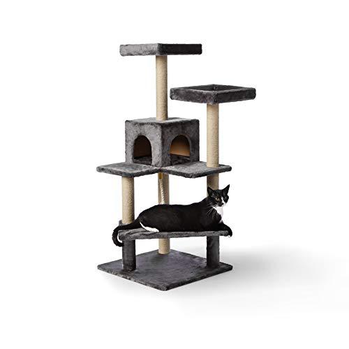 Amazon Basics – Katzen-Kratzbaum mit vielen Plattform-Stufen, 61 x 56 x 130 cm, dunkelgrau
