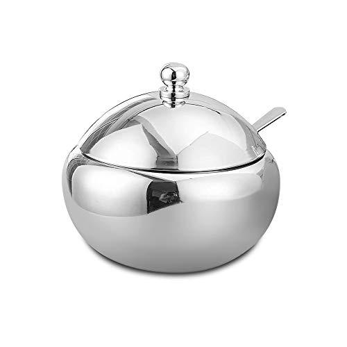 SUS304 Edelstahl-Zuckerdose, für Gewürze, mit Deckel und Löffel für Salz Zucker Kaffee Tee Kräuter m