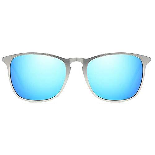 Hancoc Gafas de sol retro de metal, montura plateada, lentes gris/azul, para hombre y mujer, con las mismas gafas de sol polarizadas (color: azul)