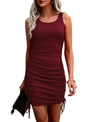 Mujer Vestido Ajustado Verano Mini Vestido Sin Mangas con CordóN EláStico Y Fruncido Vino M