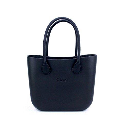 O Bag, Tasche mit langen Griffen, aus Kunstleder, schwarz, mit schwarzem Beutel