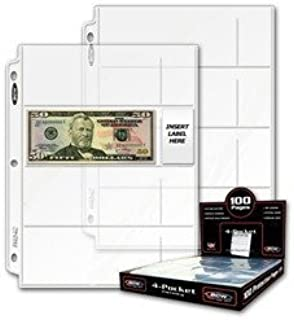50 Ct. - BCW Pro 4-Pocket Coupon Storage Pages (4 Horizontal Long 2 5/8 X 6 1/8 Top Loaded Slots)