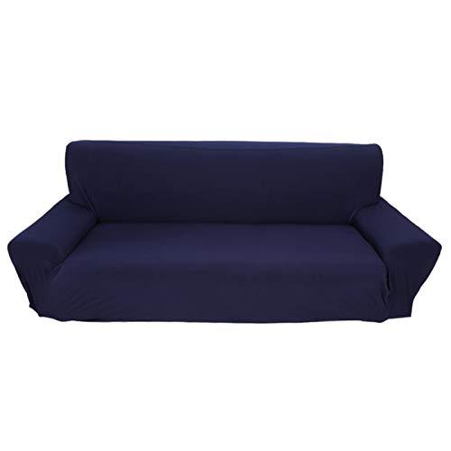 Effen Kleur Stretch Bankstel Driezits Wasbaar Vezelmeubilair Beschermend Pak voor Thuiskantoorhotel(Marineblauw)