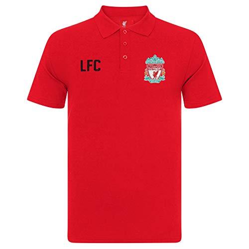 Liverpool FC - Polo Oficial para Hombre - con el Escudo del Club - Rojo - Medium