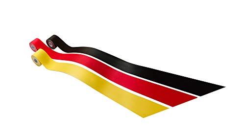 Kintex Kinesiologie Tape Classic [5cm x 5m], Deutschland Pack, 3 Rollen in schwarz, rot, gelb, Physio-Tape, Therapie-Tape